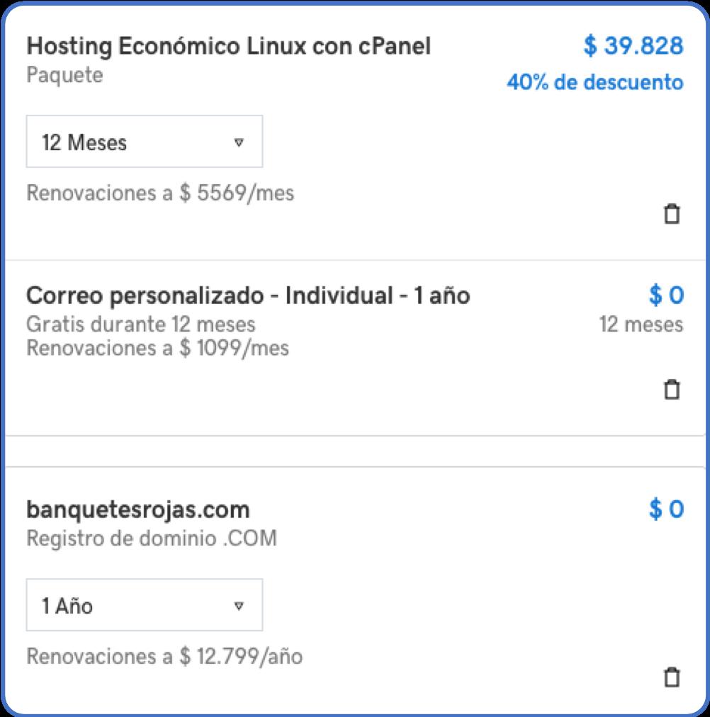 Precio hosting, dominio y correo corporativo en GoDaddy