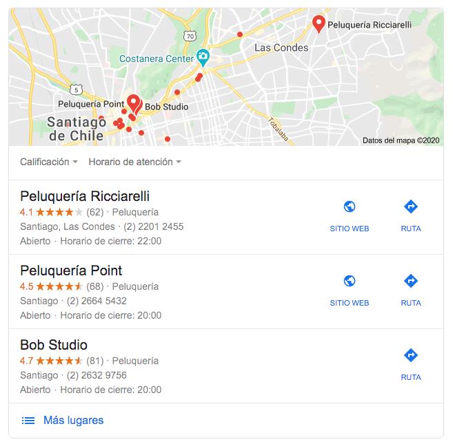 Google: ejemplo de cómo luce una búsqueda con resultados locales en Chile