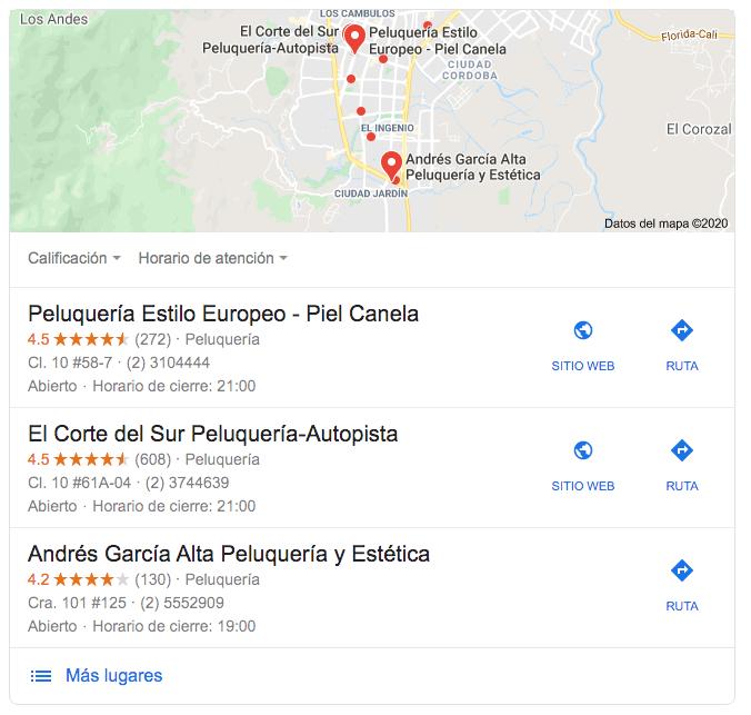 Google: ejemplo de cómo luce una búsqueda con resultados locales en Colombia