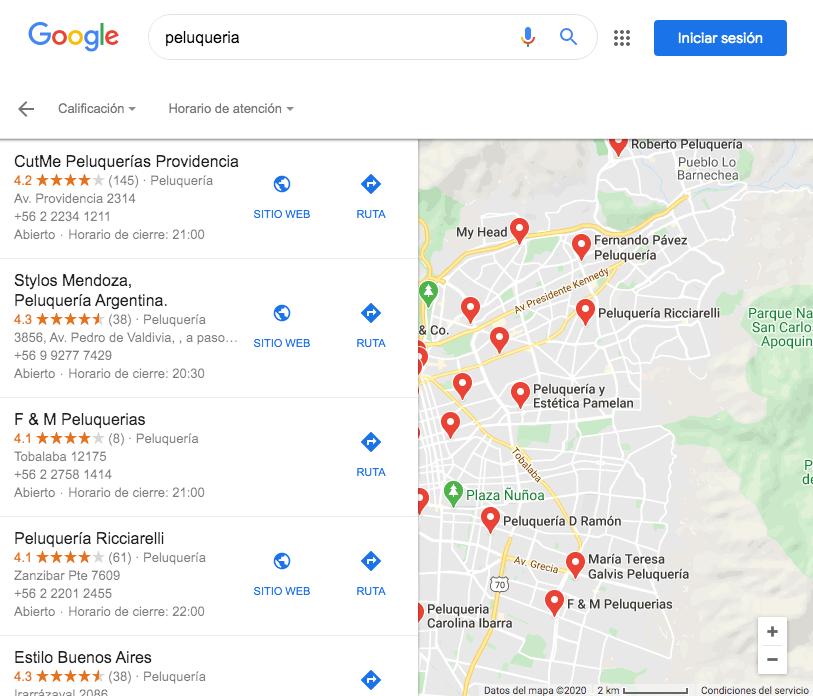 Google Maps: ejemplo de cómo luce una búsqueda con resultados locales de Chile