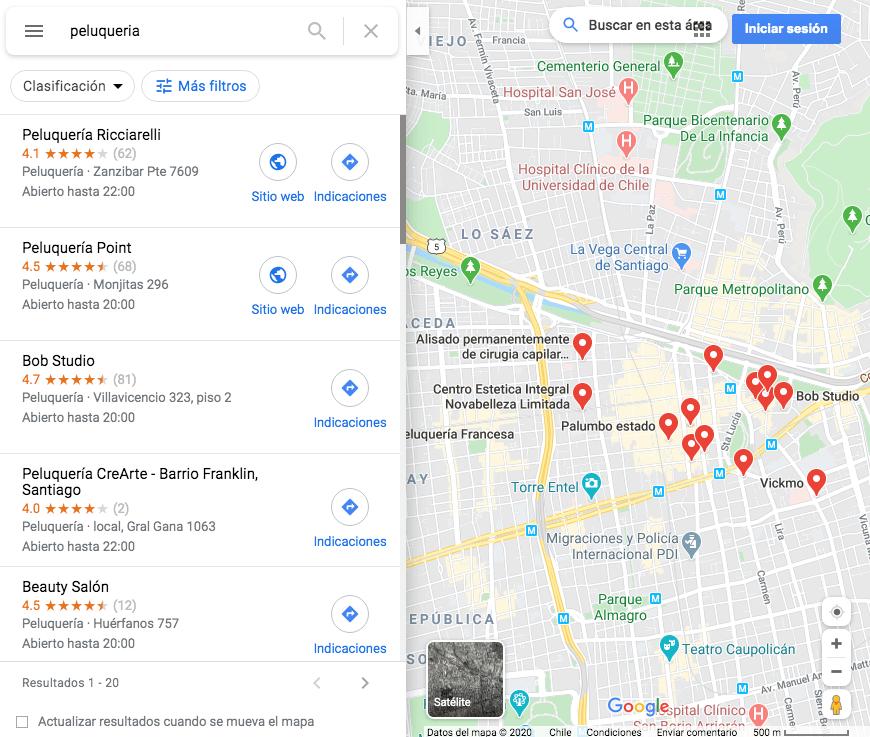 Google Maps: ejemplo de cómo luce una búsqueda con resultados locales en Chile