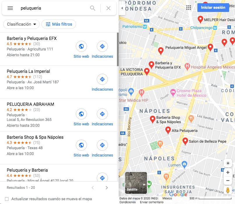 Google Maps: ejemplo de cómo luce una búsqueda con resultados locales en México