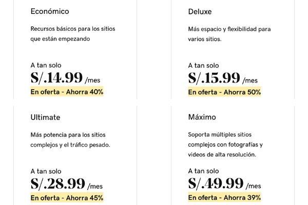 Planes de hosting compartido en Perú. GoDaddy