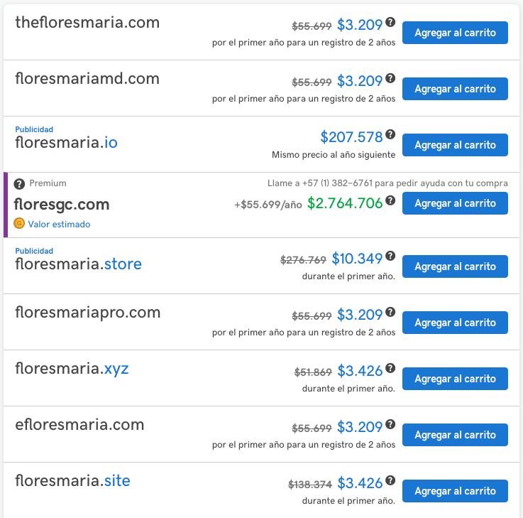 Sugerencias de nombres de dominio web